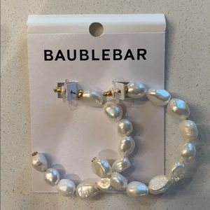 Bauble Bar Pearl Hoop Earrings